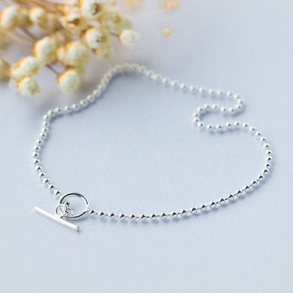 Ella silver bead simple sterling silver foot anklet