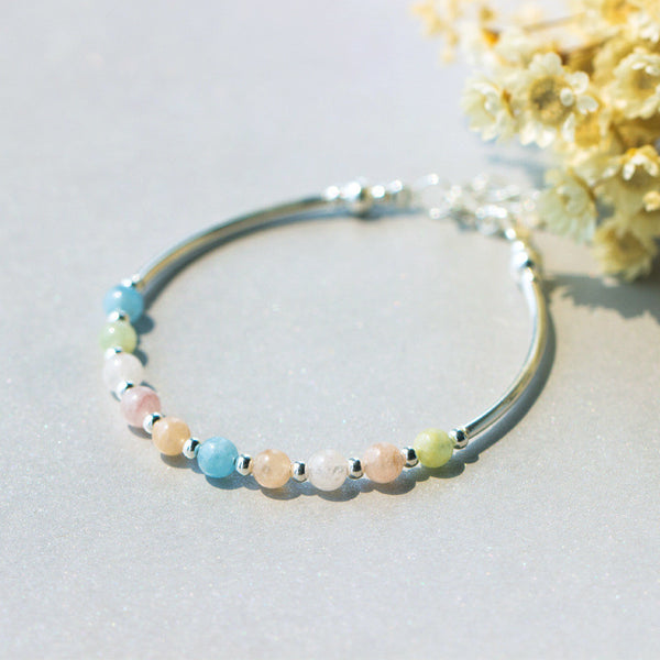 Ella natural colorful beryl beads sterling silver bracelet