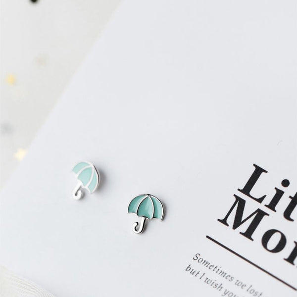 Ella pink green umbrella enamel sterling silver stud earrings