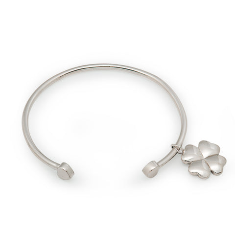 Ella fashion four clover leaf sterling silver adjustable bangle