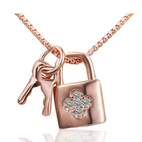 Ella eternal love rose lock key sterling silver pendant