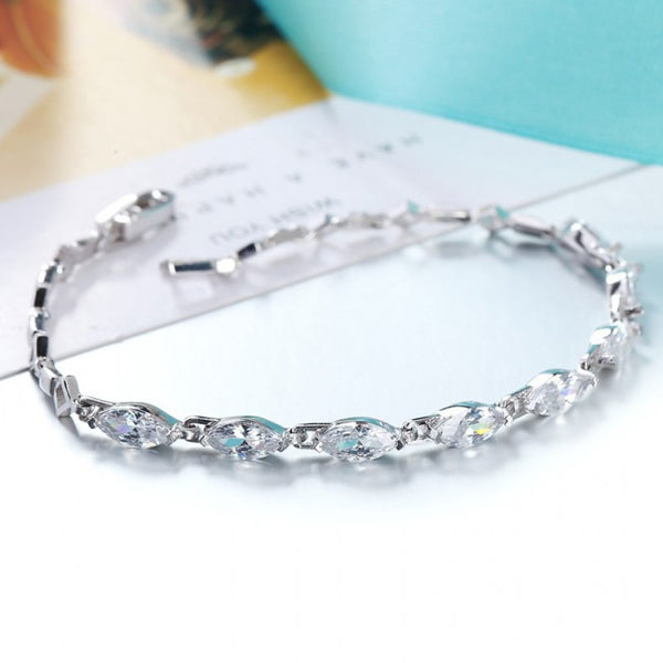 Ella classic marquis white tennis bracelet in sterling silver