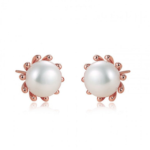 Ella pearl flower stud earrings in sterling silver