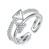 Ella Fashion Triangle Solid  Sterling Silver  Adjustable Finger Ring