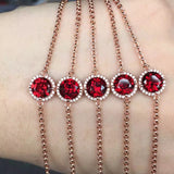 Ella red garnet natural micro setting sterling silver bracelet