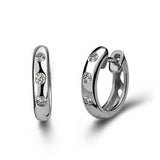 Ella cute round circle white CZ sterling silver hoop earrings