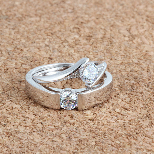 Ella white round CZ curve sterling silver wedding promise ring