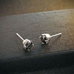 Ella Round Black White Sterling Silver Stud Earrings