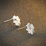 Ella four-leaf clover white sterling silver stud earrings