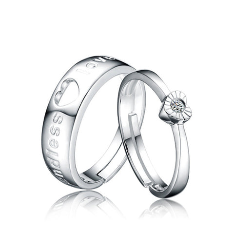 Ella Endless Love Heart  Sterling Silver Wedding Promise Adjustable Ring