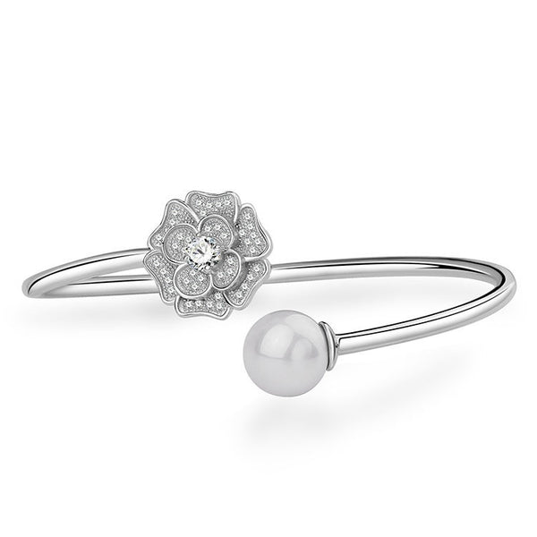 Ella shell pearl white camellia flower sterling silver adjustable bangle