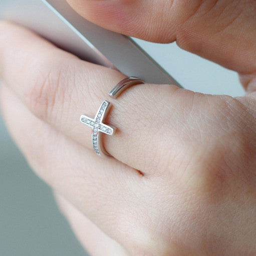 Ella white cross CZ sterling silver adjustable ring