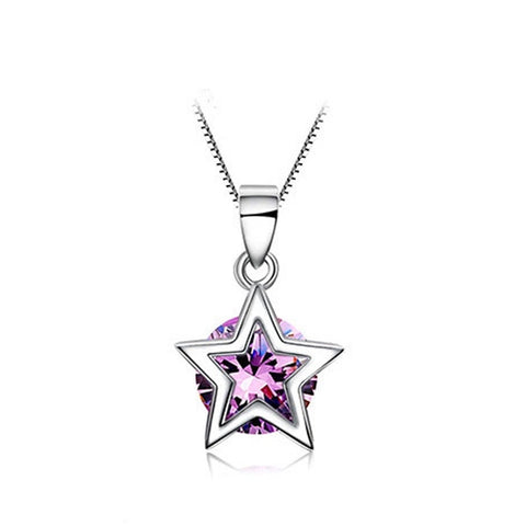 Ella purple star CZ sterling silver pendant