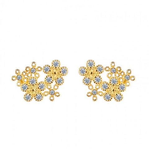 Ella elegant flower CZ stud earrings in sterling silver