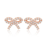 Ella bowknot micro setting sterling silver stud earrings
