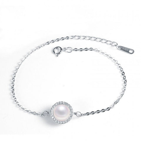 Timeless pearl sun flower CZ bracelet in sterling silver