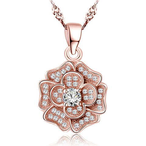 Ella trendy rose flower sterling silver pendant