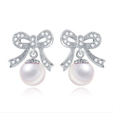 Ella Sweet Bowknot White Shell Pearl Sterling Silver Earrings