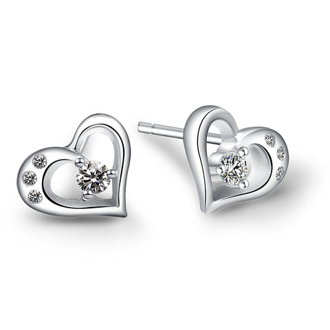 Ella Heart Micro Setting White Sterling Silver Stud Earrings