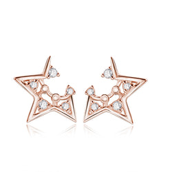Ella Fashionable Hollow Star Sterling Silver Stud Earrings