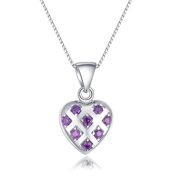 Ella classic purple sterling silver heart shape pendant