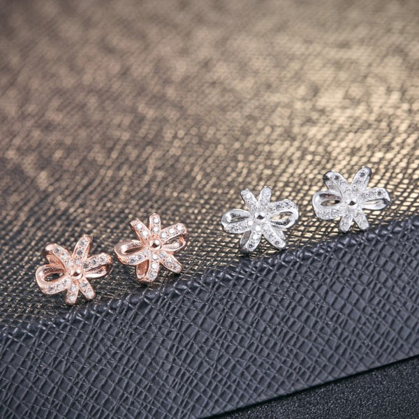 Ella crystal flower white/rose  earrings in sterling silver