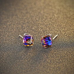 Ella White Purplish Cube Sterling Silver Stud Earrings
