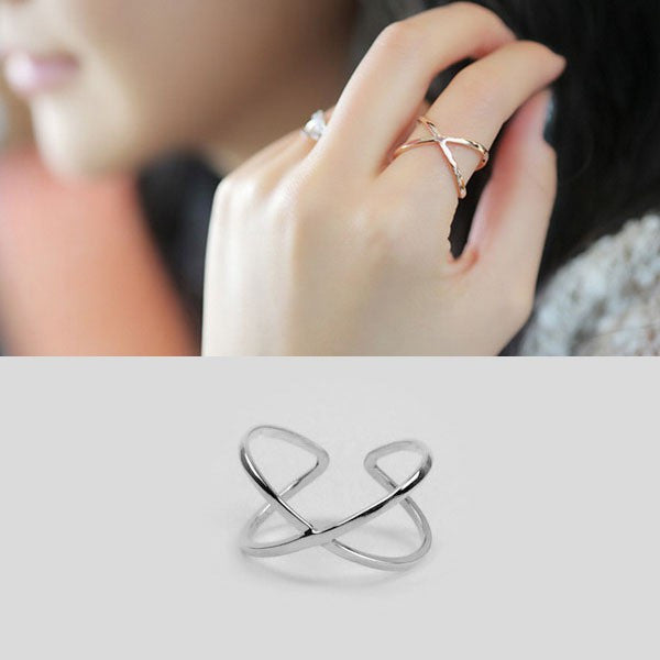 Ella timeless X cross adjustable ring in sterling silver