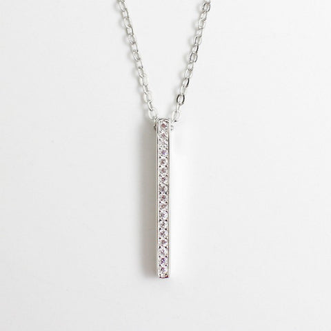 Ella classic square cube CZ necklace in sterling silver