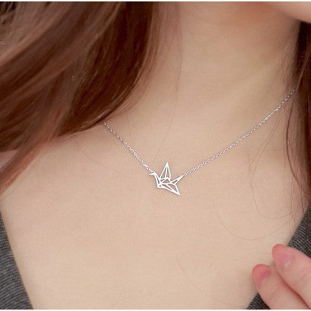 Ella fashion paper crane necklace in sterling silver