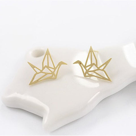 Ella elegant paper Crane  stud earrings in sterling silver