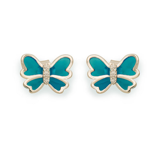 Ella simple blue butterfly sterling silver stud earrings