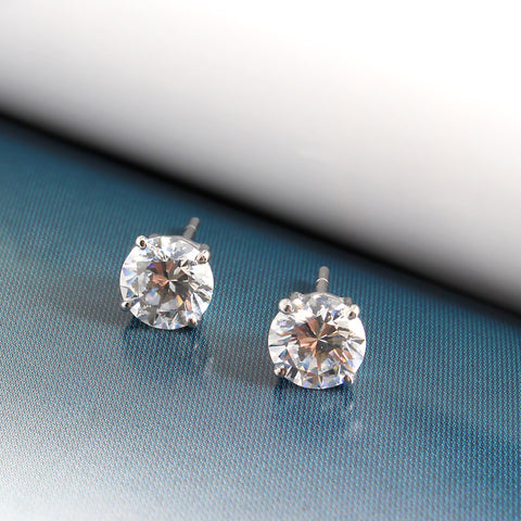 Ella Sterling Silver Round Cubic Zirconia Solitaire Earrings