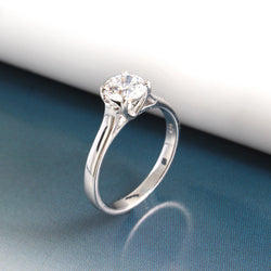 Ella Sterling Silver Round Cubic Zirconia Solitaire Ring