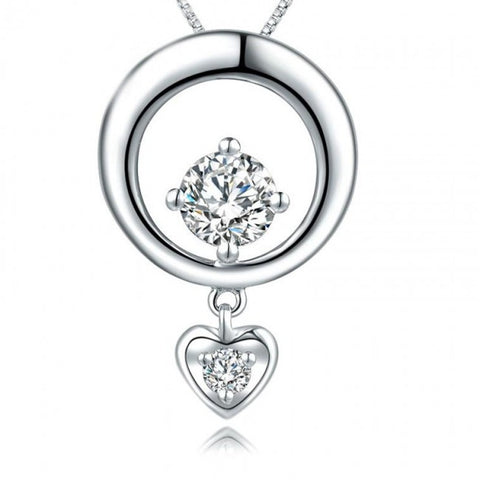 Ella Fashionable Elegant Simple Circle Heart Sterling Silver Pendant
