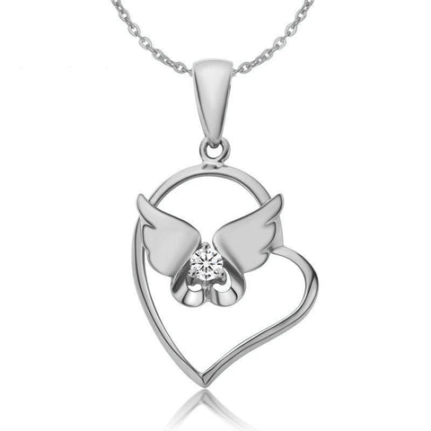 Ella White Heart Angel Wings Sterling Silver CZ Necklace