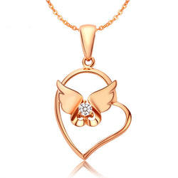 Ella Heart Angel Wing Rose Sterling Silver CZ Pendant