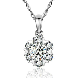 Ella Fashion Heart Shape White CZ Snow Sterling Silver Pendant
