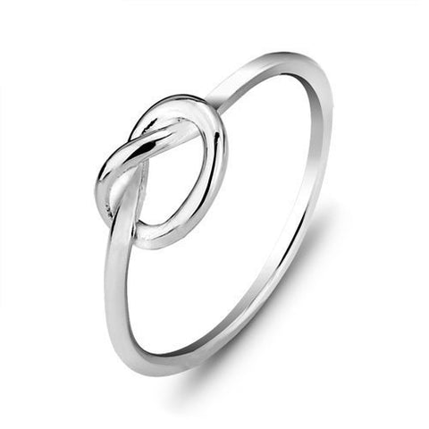 Ella Simple Heart Knot Sterling Silver Ring