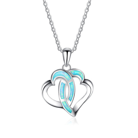 Ella Double Love Hearts Created Opal Sterling Silver Valentine Necklace