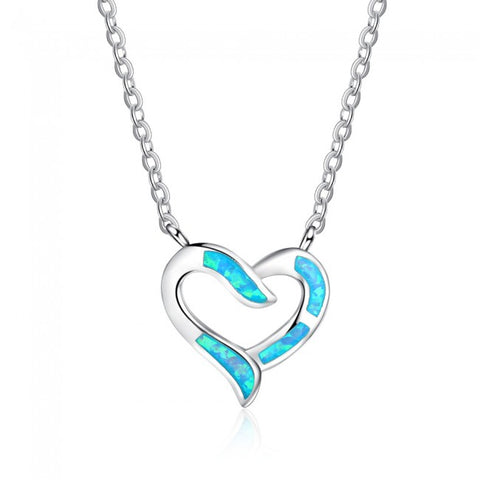 Ella Sweet Hollow Heart Created Opal Silver Necklace