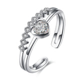 Ella Heart CZ Hollow Sterling Silver Adjustable Ring