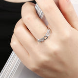Ella Hollow Heart CZ Sterling Silver Ring