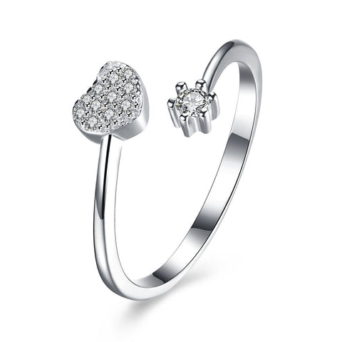 Ella Heart Flower CZ Sterling Silver Adjustable Ring