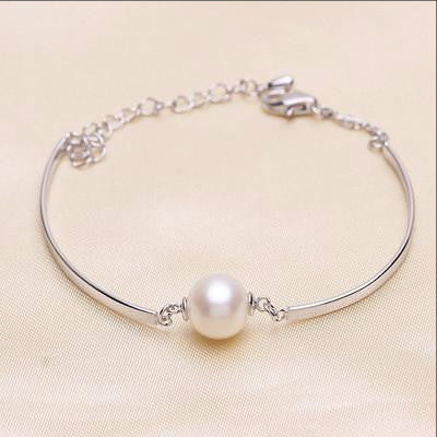 Ella flawless round white pearl white sterling silver cuff bracelet