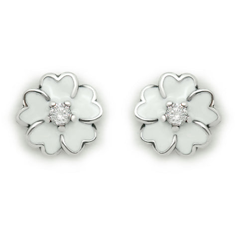 Ella White Daisy Sterling Silver Stud Flower Earrings