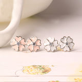 Ella Pink Daisy Sterling Silver Stud Flower Earrings