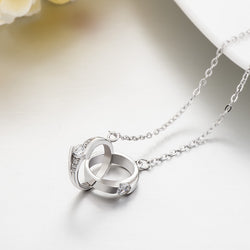 Ella Fashion Double Love Knot White CZ Sterling Silver Necklace