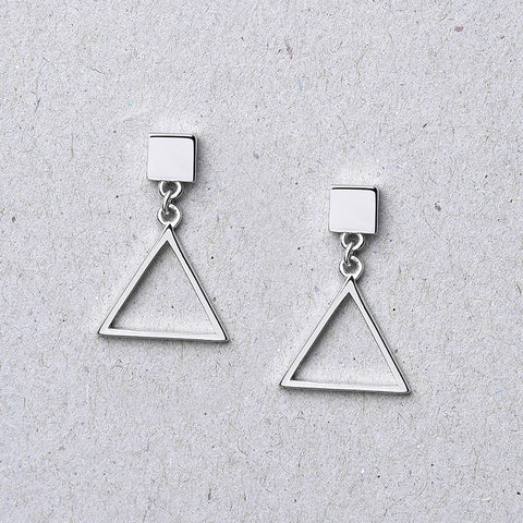 Ella simple triangle elegant sterling silver stud earrings