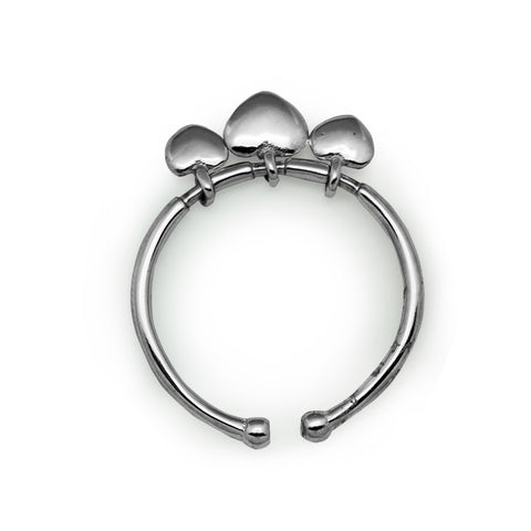 Ella Fashionable Simple Three Heart Adjustable Sterling Silver Ring